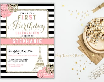 Paris Invitation Paris Birthday Invitation Paris Party - Invitation in french to birthday party