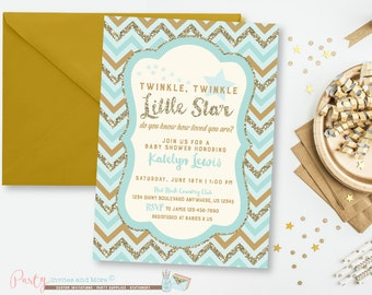 Blue and Gold Baby Shower Invitation, Twinkle Twinkle Little Star, Star Baby Shower Invitation, Glitter, Glam, Gold Baby Shower Invitation