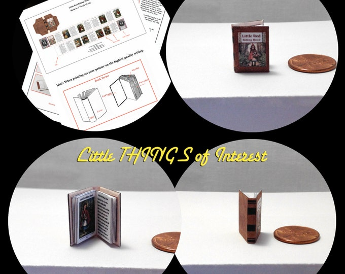 Little RED RIDING HOOD Book Downloadable 1:12 Miniature Dollhouse Scale Book Once Upon A Time Wolf Grandma Sheep Picnic