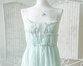 Beautiful Vintage sweet pastel aquamarine sleeping dress with white lace. Maxi lace up Nightgown .Movie Star hollywood Nightie