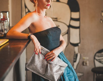 Leather Silver Evening Clutch, Evening Clutch, Day Clutch, Full Grain Leather Clutch
