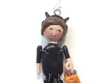 Trick or Treat:  Black Cat Cate  (Ornament)