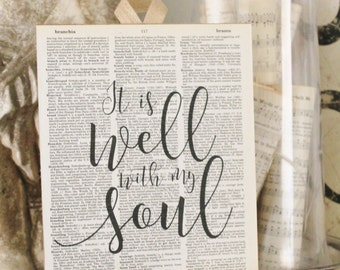 It is Well with my Soul Wood Sign Vintage Dictionary Book Page Art Wood Print Hymn French Farmhouse  Decor Wedding Bible Scripture Verse