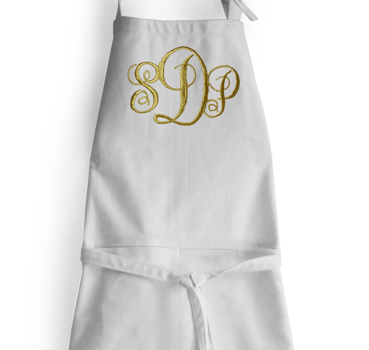 Monogrammed Apron Three Letter Personalized White Aprons