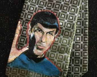 """Vintage Hand Painted Spok Star Trek Silk Necktie 59"""" L 3.25 W"""