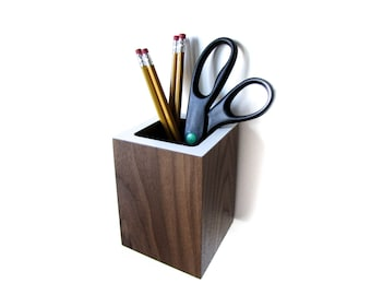 "Walnut Pencil Holder | Organizer | Wall Hanging or Tabletop style | Walnut + Colored Laminate [Top + Bottom] | size 3.4"" sq. x 4.5"""