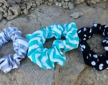 Hair scrunchie, yoga hair tie, scrunchy set of three, yoga gift, stocking stuffer, handmade hair accessory , gift for her, 80s scrunchie