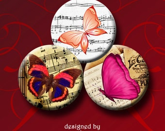 BUTTERFLY CONCERTO  Digital Collage Sheet  1 inch round images for pendants, bottle caps, magnets, etc.  Instant Download #26.