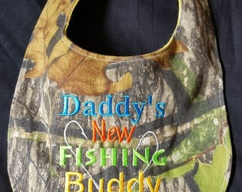 Custom Daddy's New Fishing Buddy Camouflage Baby Bib