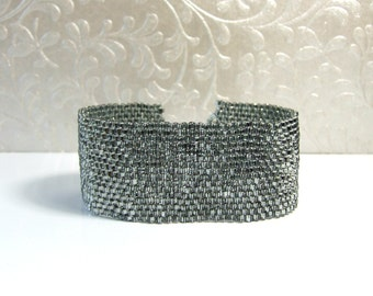 Gunmetal Bracelet Bead Woven Bracelet Seed Bead Jewelry Sterling Silver Modern Cuff Bracelet Grey Bracelet Glass Jewelry Handmade Bracelets