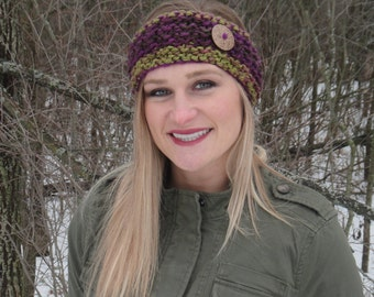 Thick & Chunky Warm Knit Headband with Button - Purple - Green