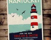 PRINTABLE Save The Date Nantucket Wedding Announcement Digital PDF Destination Lighthouse Retro deco invite invitation vintage travel poster