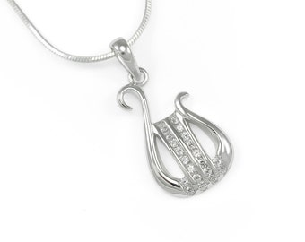 Alpha Chi Omega Sterling Silver Lyre Pendant set with simulated Diamonds // ΑΧΩ Sorority Jewelry // Sorority gifts // Lyre necklace // Lyre