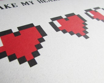 Recycled Hand Made Card Legend of Zelda Inspired It's You Take My Hearts Valentine Card
