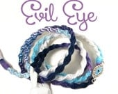 Evil Eye Hedphones - Custom Hand Wrapped Purple Blue Ombre Earbuds - Eye of God Earphones - Tangle Free iPhone 7 Earpods, Sony, Skullcandy