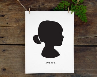 Custom Child Silhouette Print, Personalized Child's Profile, Children Art Silhouette, Makes a great Mother's Day gift!