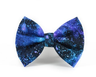 Stardust Pet Bow Tie - Galaxy Galactic Sci-Fi Cosplay Dog and Cat Bow Tie - Black, Navy and Purple