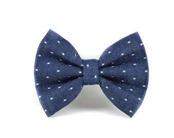 Classic Swiss Dots Bow Tie - Navy Chambray Denim Wedding Detachable Polkadot Pet Bow Tie