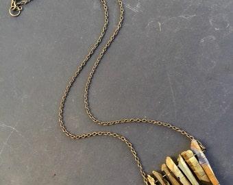 Crystal Point Necklace - Quartz Necklace - Quartz Crystal Necklace - Titanium Quartz Necklace - Gold Necklace - Healing Crystal Necklace