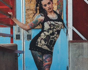 Still Alive Black Tank Dress jersey cotton studs zombie pizza Handmade in Italy Limited Edition