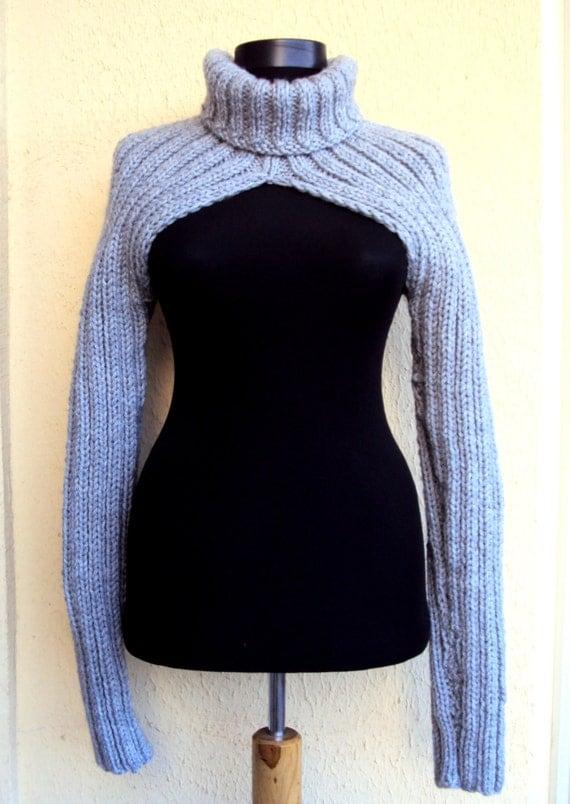 Long Sleeved Shrug Knitting Pattern : Knit Sweater Shrug Bolero Debra Wilson Sweater Turtleneck Long
