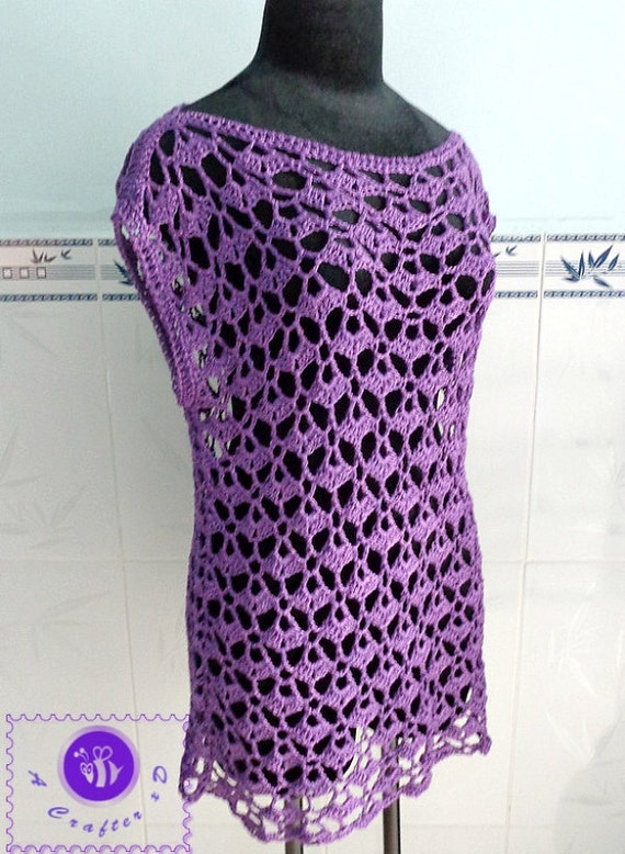 Crocheted lacy oversized top ( size L ) - free worldwide shipping