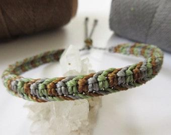 Friendship/Surf Bracelet Brown Olive Green and Grey Shade Handmade Macrame