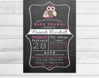 Chalkboard Owl Baby Shower Invitation - Girl, Pink Printable Digital Baby Shower Invite File