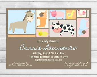 Farm Animals Printable Baby Shower Invitation