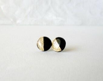 Black gold stud earrings- Gold dipped post earrings- Delicate feminine jewelry- Fall winter earrings