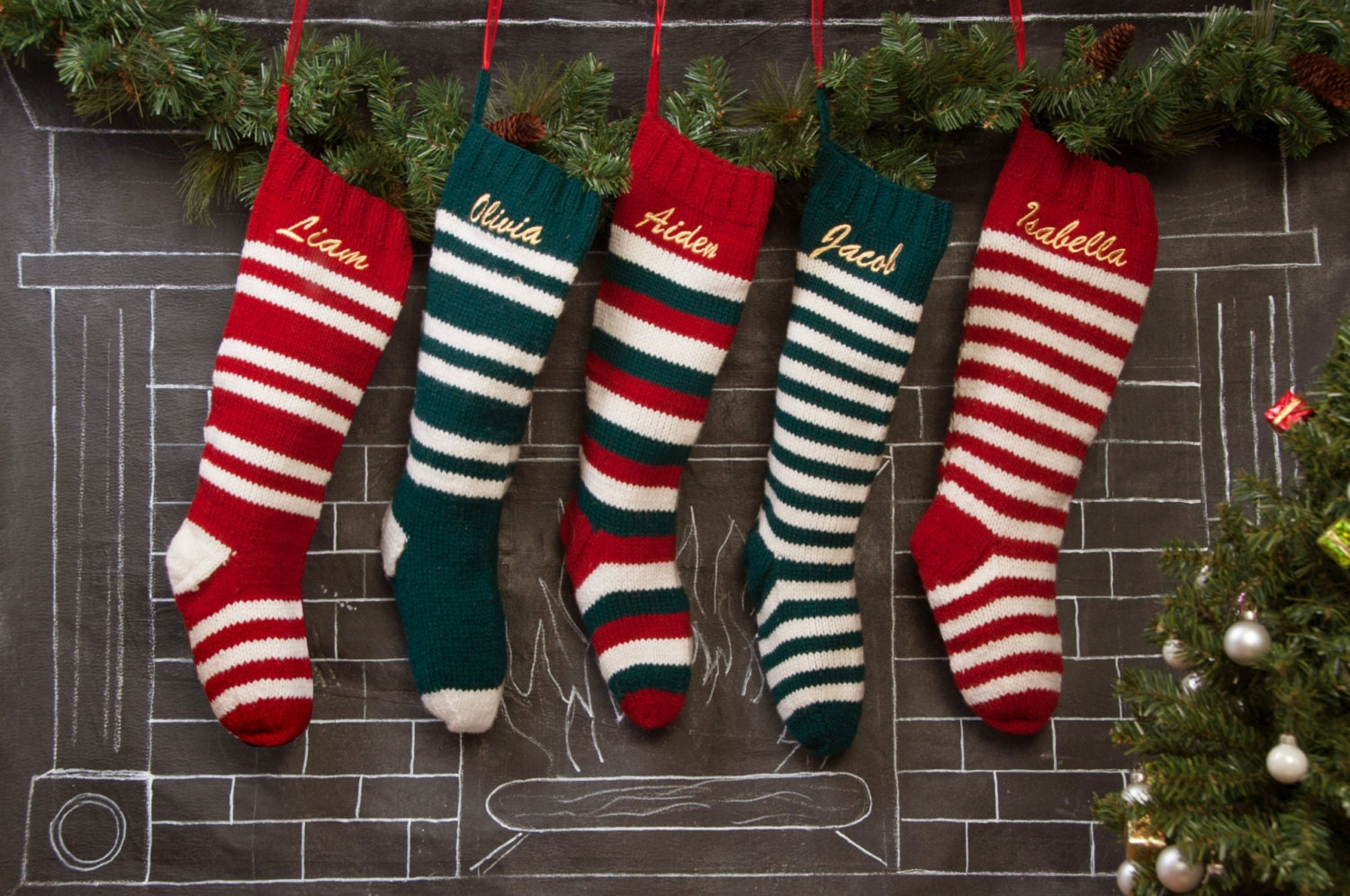 Set of 5 personalized knit christmas stockings red green for Custom made christmas stockings