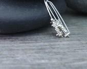 Simple Earrings, Minimalist Jewelry, Modern Open Hoops, Sterling Silver, Contemporary Drop, Subtle Statement, Whisper Weight, Petite Earring
