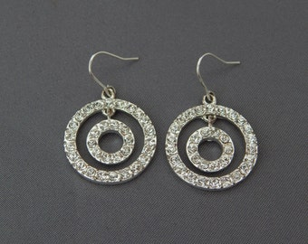 Vintage Rhinestone Silver Hoop Earrings, Silver Tone Double Circles Crystal Earrings