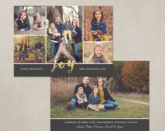 Christmas Card Template -  Photoshop template 5x7 flat card - Christmas Joy CC117 - INSTANT DOWNLOAD