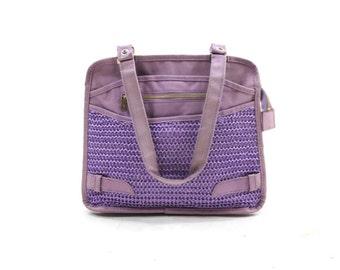 1980s purple canvas bag / woven tote bag / lavender canvas shoulder bag