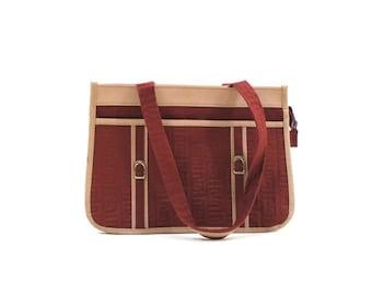 maroon canvas bag • 1980s shoulder bag • two tone purse / retro shoulder bag