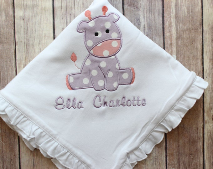 Personalized Baby Blanket, Personalized Girls Baby Blanket, Monogrammed Giraffe Baby Blanket, Monogrammed Blanket for Baby Gift, New Baby
