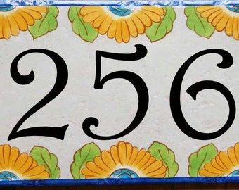 Sunflowers house number plaque, Yellow flowers, Spring door sign, Address sign, Address tile, ceramic hand painted sign, door numbers