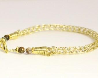 Viking knit bracelet, brass bracelet, woven wire jewelry, Viking bracelet with agate gemstone bracelet, handmade Norse jewelry