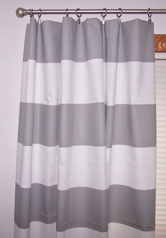 Grey And White Extra Wide Stripe Curtains Grey Curtains