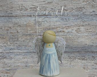 Blue Guardian Angel Peg Doll - New Baby Gift Christening Cake Topper