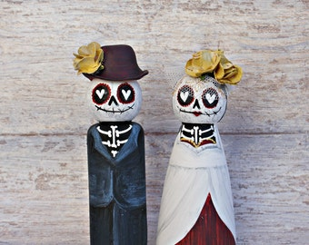 Day of the Dead, Sugar Skulls Wedding Cake Topper Peg Dolls