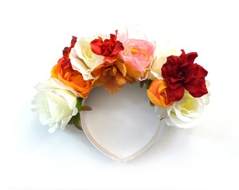 Valentines Day Statement Floral Rose Headpiece // Festival Headpiece//Red Roses// Lana del Rey Headband