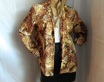 Vintage Safari Leopard African Blouse Size L-XL Animal Print