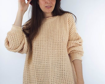 Just Peachy Vintage Chunky Knit Oversized Sweater