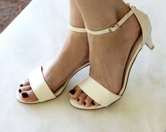 Ladies Ivory low heel wedding shoes. Low heel bridal shoes, comfortable bridal shoes, ivory kitten heels, Style: 'True Romance Ivory