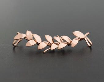 Leaf earring, rose gold ear cuff, no piercing earring cuff, rose gold earring, rose gold jewelry, non pierced ear,fairy earcuff,elf ear cuff