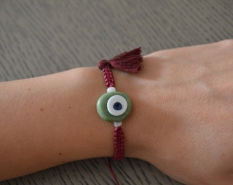 Evil Eye Bracelet - Glass Eye Bracelet - Good Karma Bracelet - Protection from Evil Eye Bracelet - Tassel Bracelet - Green Eye Bracelet