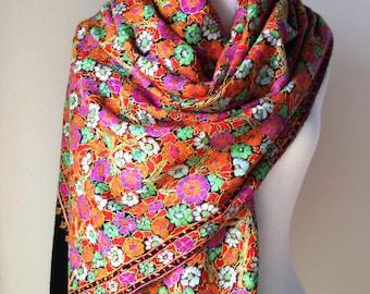 SALE!! HANDMADE EMBROIDERED Kashmiri Artisan Shawl, wool, ethnic, luxury, wedding, formal, evening, pink, crewel, pashmina