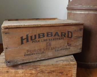 Hubbard Wood Crate ~ Partial Lid ~ Emeryville, California ~ Storage ~ Pole Line Hardware Crate ~ Pierce Specialties ~ Gift for Men
